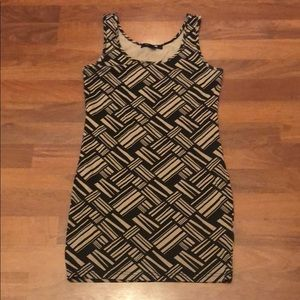 Fitted Black & Brown Dress - Size L